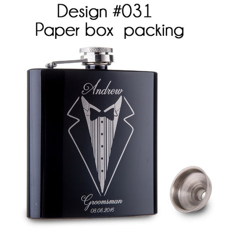 Personalized Best Man gift  of 6oz  black stainless steel hip flask ,Groom gift, Best man gift with  Gift box packing