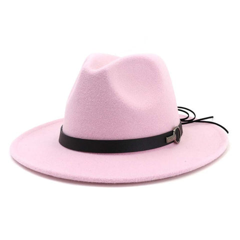 Women Wide Brim Wool Felt Jazz Fedora Hats Panama Style Ladies Trilby Gambler Hat
