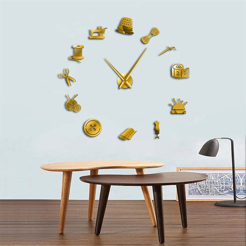 Sewing Machine DIY Large Wall Clock Modern Design 3D Mirror Wall