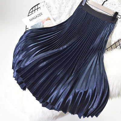 Women Long Skirts A-Line Women Pleated Skirts High Waist Women Midi Skirt