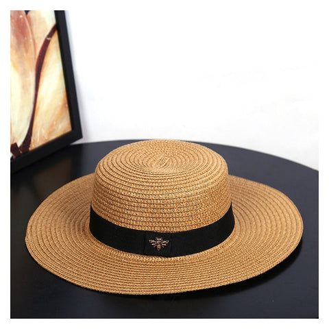 Sun Hats Small Bee Straw Hat European and American Retro Gold Braided Hat