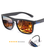 Image of Men Polarized Anti-UV Sunglasses Vintage Driver Black Goggles