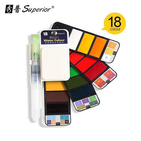 Solid Watercolor Paint Set With Water Brush Pen Foldable Travel Water Color Pigment