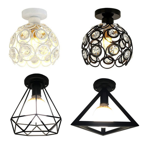 Vintage Ceiling Lights Lustre Luminaria Led Ceiling Lamp Loft Iron Cage Fixtures Abajur Home