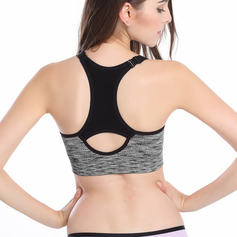 Women's Sports Bra, Adjustable Spaghetti Strap Padded Top For Fitness Running Gym Athletic