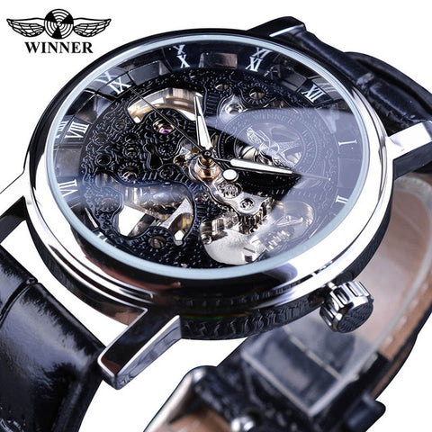 Golden Case Luxury Casual Design Brown Leather Strap Mens Watches