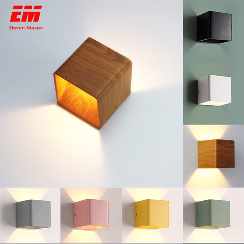 Wood Grain Led Wall Lamp 10*10*10cm 5W Mordern Wall mounted Lights