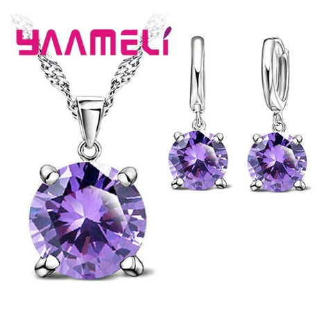 925 Sterling Silver Crystal Necklace Pendant and hoop Earring jewelry set