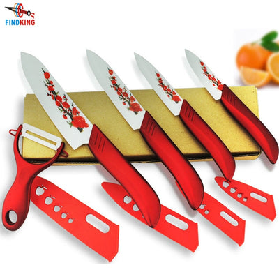 "FINDKING Knife Set Kit 3"" 4"" 5"" 6"" inch with Flower printed+ Peeler+Covers"