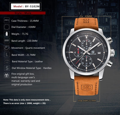 BENYAR Brand Watches Men Fashion Waterproof Military Chronograph Sport Quartz
