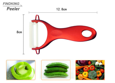 "good red handle Ceramic fruit Knife kitchen Set 3"" 4"" 5"" 6"" inch+ Peeler+Covers"