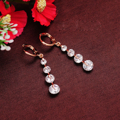 Elegant CZ Crystal Earrings Rose Gold Color Wedding Party Women Jewelry Long Drop Earrings