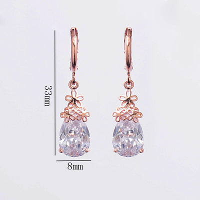 Wedding CZ Crystal Earrings Fashion Costume Jewelry Rose Gold Color Flower Drop Earrings