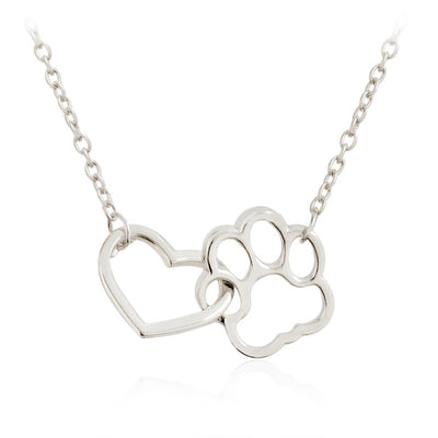 Pet Paw Footprint Necklaces Cute foot Dog Cat Love Heart Pendant Necklace