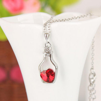 silver plated Crystal heart in Bottles Pendant Necklace