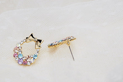 New Fashion Imitation Crystal Colorful Rhinestone Bow Earrings Vintage Jewelry