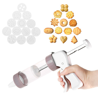 Cookie Press Kit Gun Machine 13 Press Molds & 6 Pastry Piping Nozzles Cookie