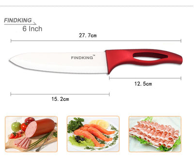 "FINDKING Knife red handle Ceramic Knife with holder kitchen Set 3"" 4"" 5"" 6"" inch"