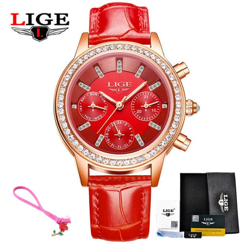pink Womens Watches Luxury Brand Girl Quartz Casual Leather Ladies