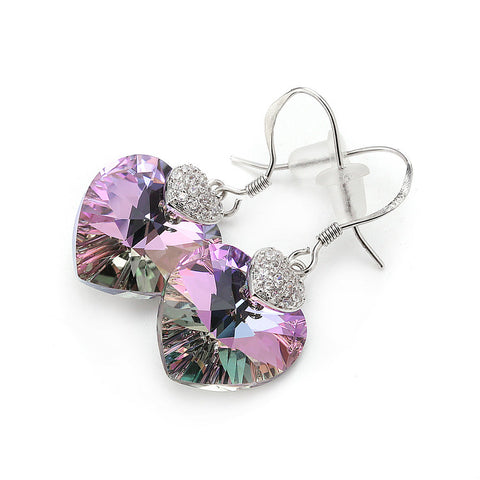 Swarovski Crystal Women Earrings Amethyst Heart Drop Earring
