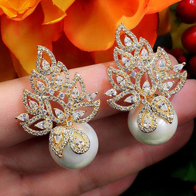 Imitation Pearl Leaf Collection Full Micro Cubic Zirconia stud earrings
