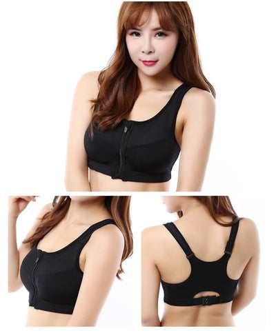 Women Yoga Bra Gym Fitness Front Zipper Bra Shakeproof Breathable Push Up