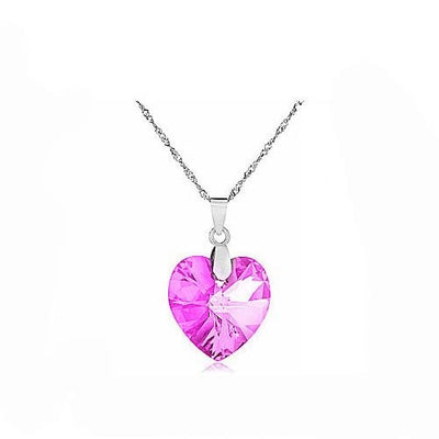 5 colors Austrian Crystal Heart Pendant with Necklace