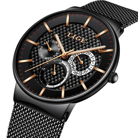 LIGE Men Top Luxury Brand Military Sport Watch