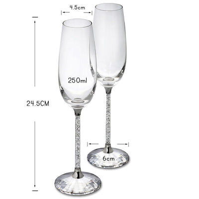 2pc Wedding Glasses Personalized Champagne Flutes Crystalline Party Gift