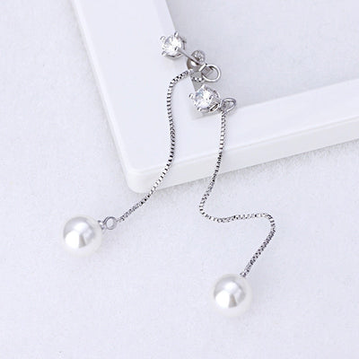 Fashion Silver-color Simulated Pearl Pendant Long Chain Cubic Zirconia Long Earrings