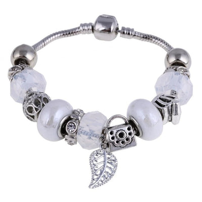 Pink Crystal Charm Murano Beads  Silver Bracelets