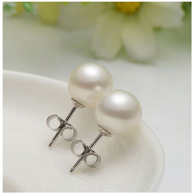 Real perfect round Natural Freshwater Pearl stud Earrings For Women