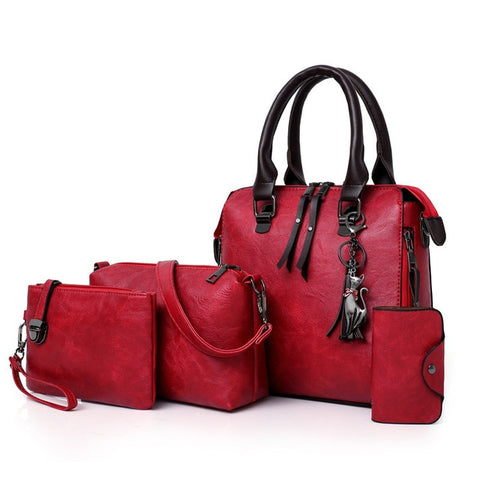 4 sets wax oil pu leather bag ladies handbags