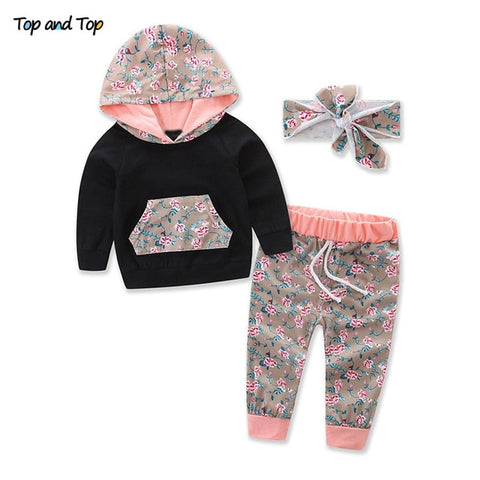 Baby Girls Clothes Set Autumn Newborn Baby Girl Clothing Leopard Print Rompers Headband Pants 3PCS Outfits Set