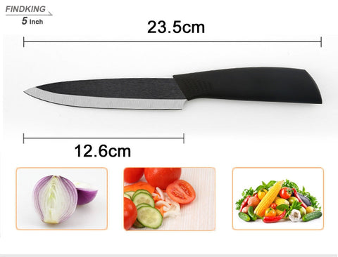 "Top quality  Zirconia black blade 3"" 4"" 5"" 6"" inch + Peeler + covers ceramic knife set"