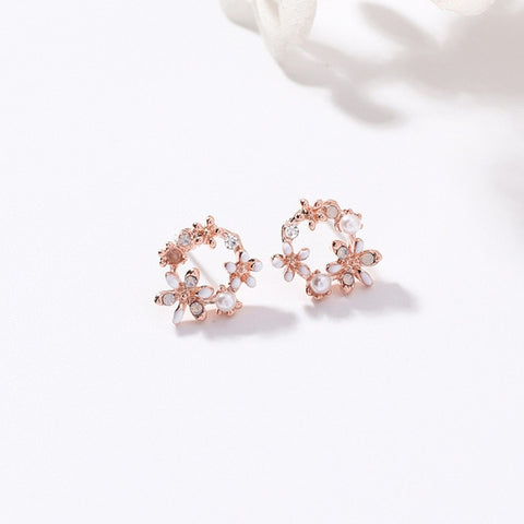 Korean New Colorful Rhinestone Wreath Stud Earrings