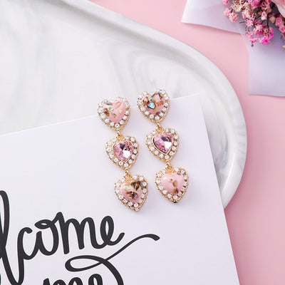 Three drop Heart Crystal Long Pendientes drop earrings
