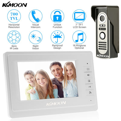 "7"" Video Door Phone Intercom Doorbell with Outdoor Camera"
