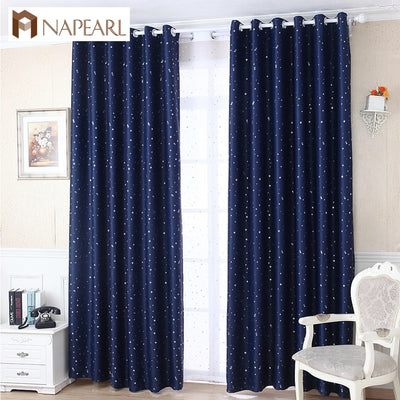High shading blackout curtain star design navy blue white curtain shade window
