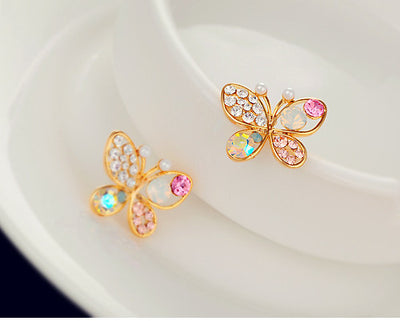 Luxury Hollow Shiny Colorful cystal Simulated Pearl  Butterfly Stud Earrings