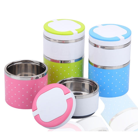 Portable Stainless Steel Lunch Boxes Bento Box Candy Color Thermos For Food
