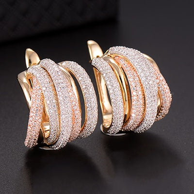 25mm Luxury Twist Braided Lines Colorful Full Mirco Pink Cubic Zirconia  Earring Fashion Jewelry