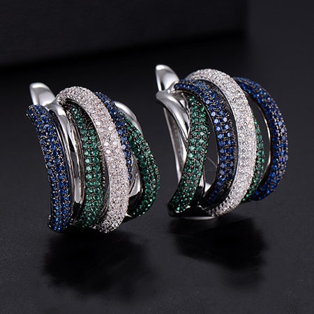Luxury Twist Braided Lines Colorful Full 25mm Mirco Pink Cubic Zirconia  Earring Fashion Jewelry