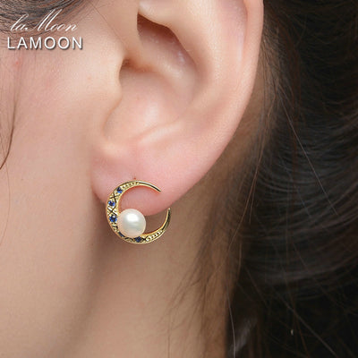 5mm 100% Natural Fresh water Pearl 925 Sterling Silver Moon Stud Earrings