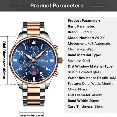 Mens Automatic Mechanical Watch Time Moon Phase Waterproof