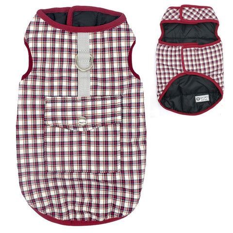 Dog Clothes Plaid Winter Pet Dog Clothing Coat Warm For Small Medium size