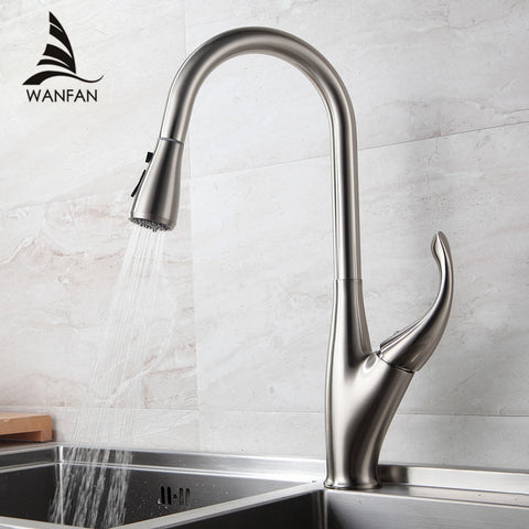 Kitchen Faucets Silver Single Handle Pull Out Kitchen Tap