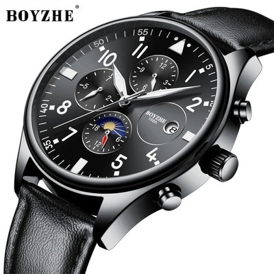 Men Automatic Mechanical Watch Top Brand Fashion Casual Leather Moon Phase