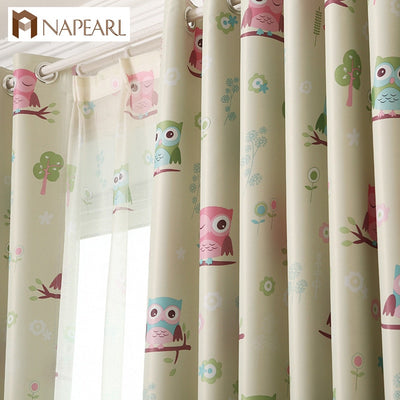 NAPEARL Blackout curtains cartoon owl bedroom kid