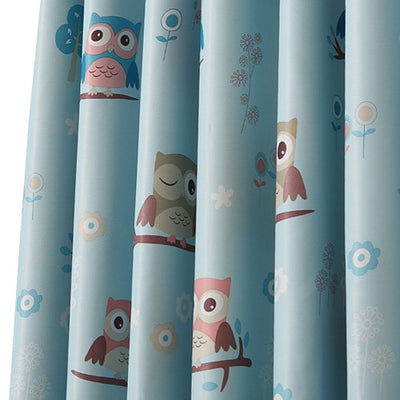 NAPEARL Blackout curtains cartoon owl kid bedroom window Grommet top treatment with tulle curtains panel modern short